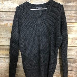 Vince Cashmere Wool V Neck Sweater Gray Weave